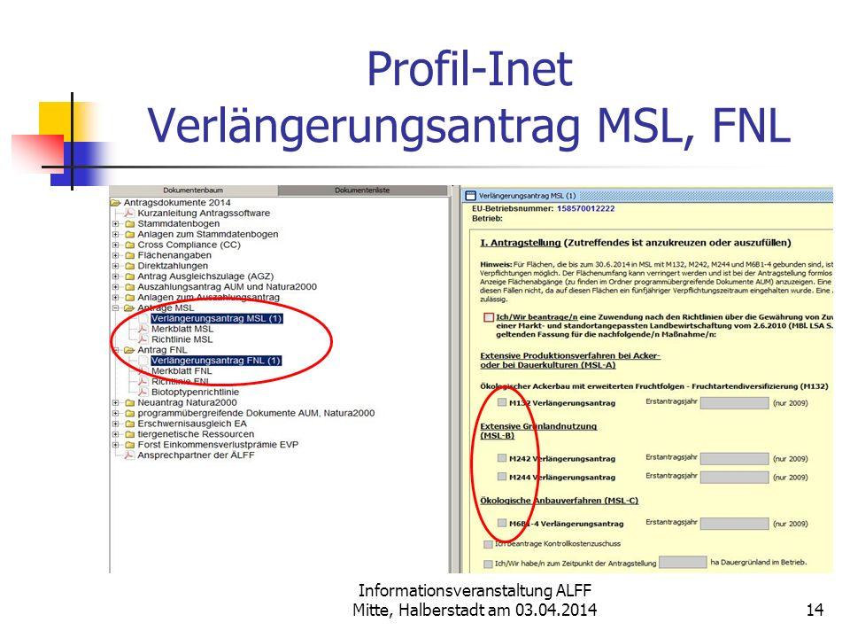Informationsveranstaltung ALFF Mitte, Halberstadt am 03.04.2014 Profil-Inet Verlängerungsantrag MSL, FNL 14