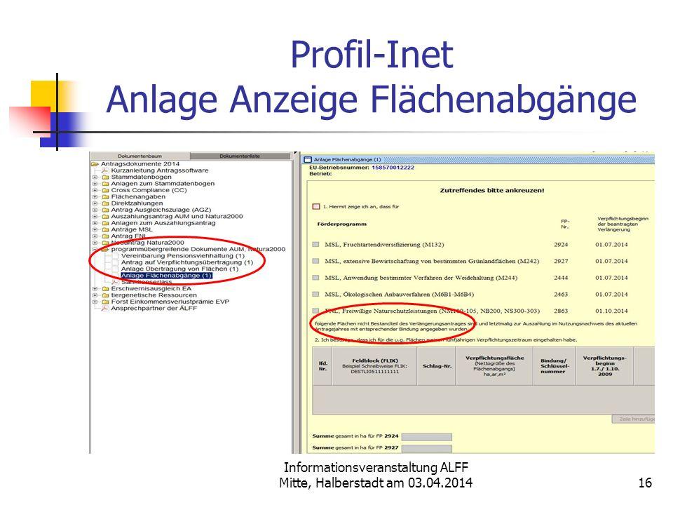 Informationsveranstaltung ALFF Mitte, Halberstadt am 03.04.2014 Profil-Inet Anlage Anzeige Flächenabgänge 16