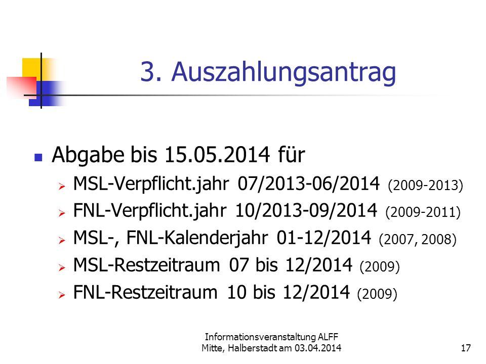 Informationsveranstaltung ALFF Mitte, Halberstadt am 03.04.2014 3. Auszahlungsantrag Abgabe bis 15.05.2014 für MSL-Verpflicht.jahr 07/2013-06/2014 (20