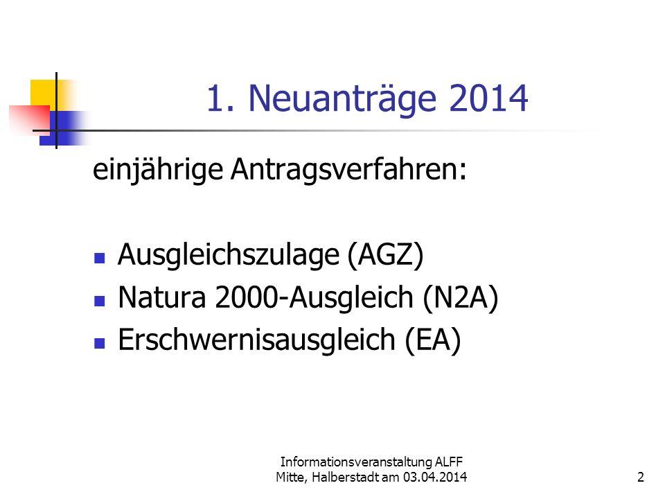 Informationsveranstaltung ALFF Mitte, Halberstadt am 03.04.2014 1. Neuanträge 2014 einjährige Antragsverfahren: Ausgleichszulage (AGZ) Natura 2000-Aus