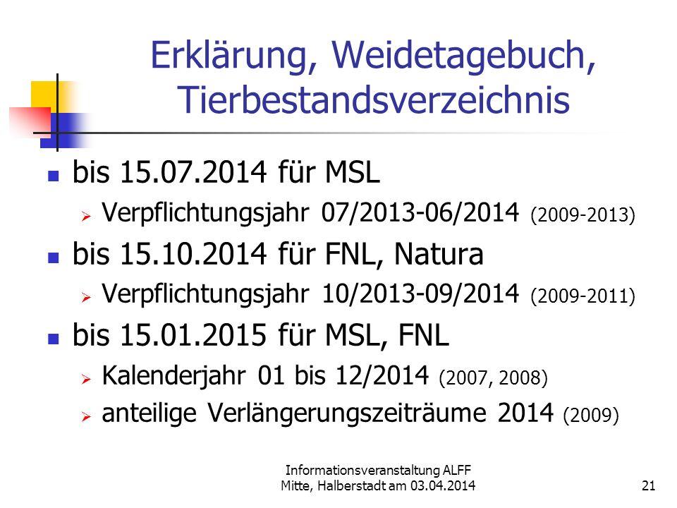 Informationsveranstaltung ALFF Mitte, Halberstadt am 03.04.2014 Erklärung, Weidetagebuch, Tierbestandsverzeichnis bis 15.07.2014 für MSL Verpflichtung