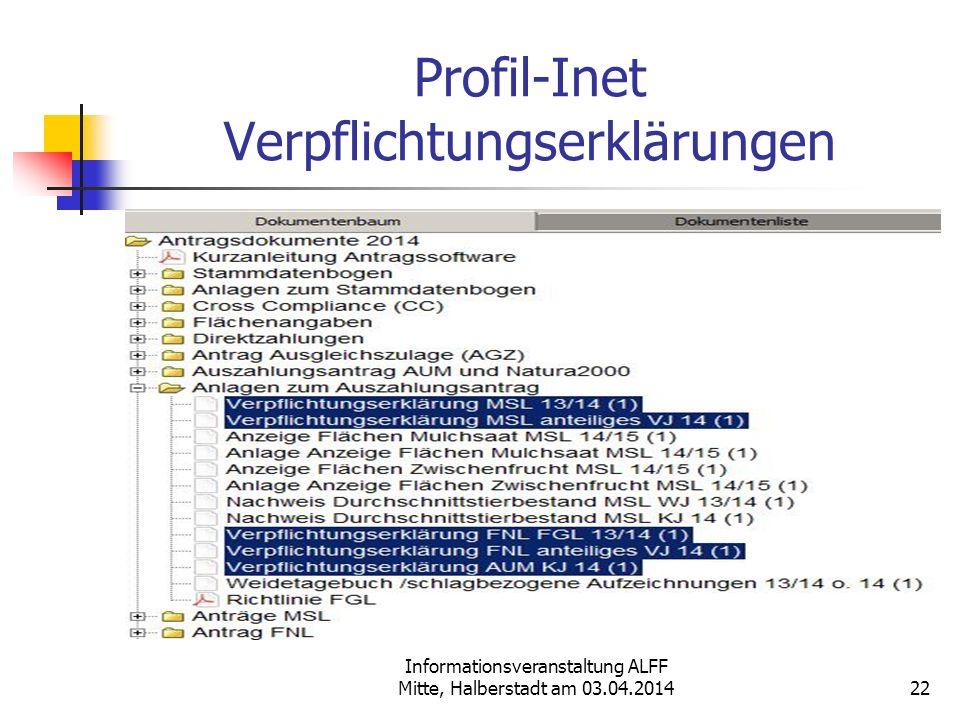 Informationsveranstaltung ALFF Mitte, Halberstadt am 03.04.2014 Profil-Inet Verpflichtungserklärungen 22