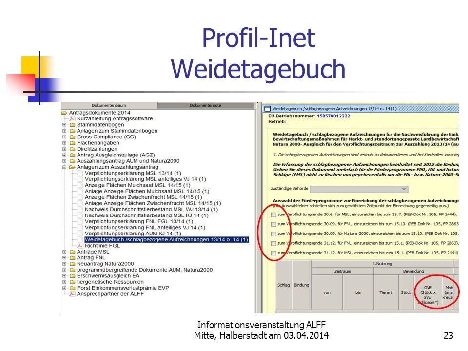 Informationsveranstaltung ALFF Mitte, Halberstadt am 03.04.2014 Profil-Inet Weidetagebuch 23
