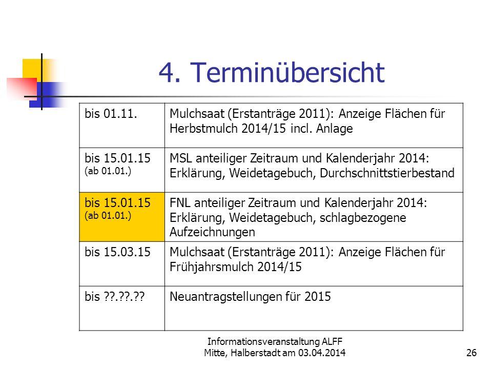 Informationsveranstaltung ALFF Mitte, Halberstadt am 03.04.2014 4. Terminübersicht bis 01.11.Mulchsaat (Erstanträge 2011): Anzeige Flächen für Herbstm