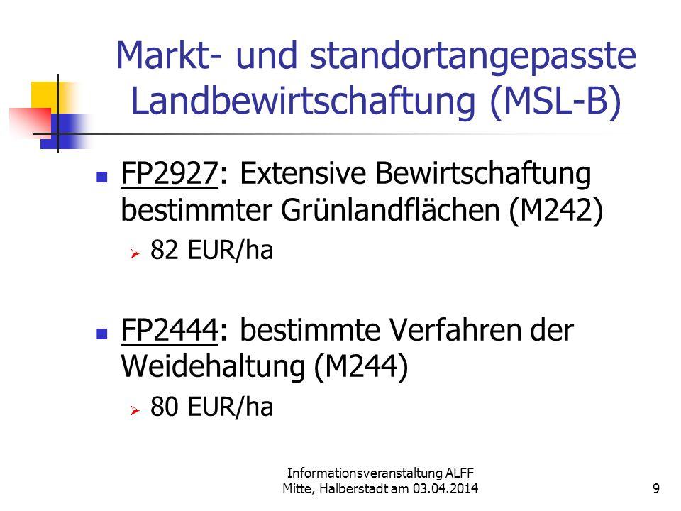 Informationsveranstaltung ALFF Mitte, Halberstadt am 03.04.2014 Markt- und standortangepasste Landbewirtschaftung (MSL-B) FP2927: Extensive Bewirtscha