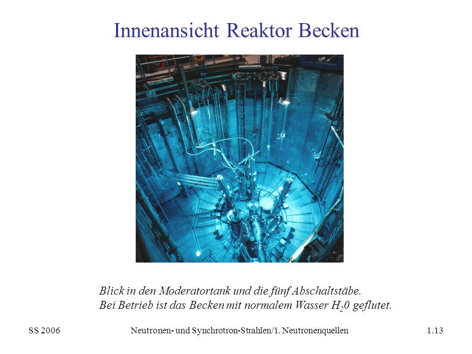 SS 2006Neutronen- und Synchrotron-Strahlen/1. Neutronenquellen1.13 Innenansicht Reaktor Becken Blick in den Moderatortank und die fünf Abschaltstäbe.