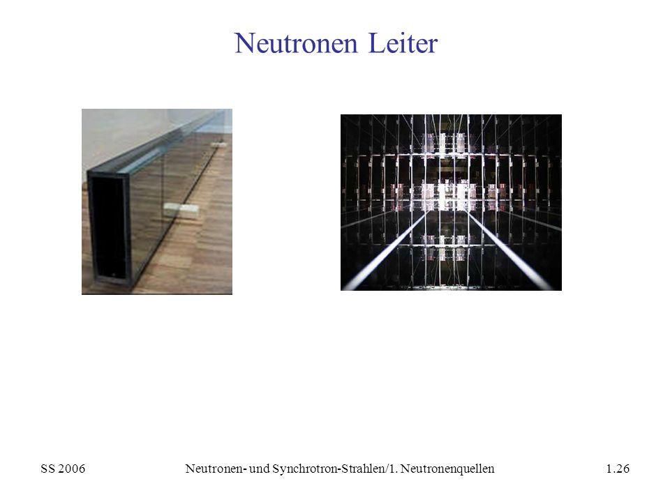 SS 2006Neutronen- und Synchrotron-Strahlen/1. Neutronenquellen1.26 Neutronen Leiter
