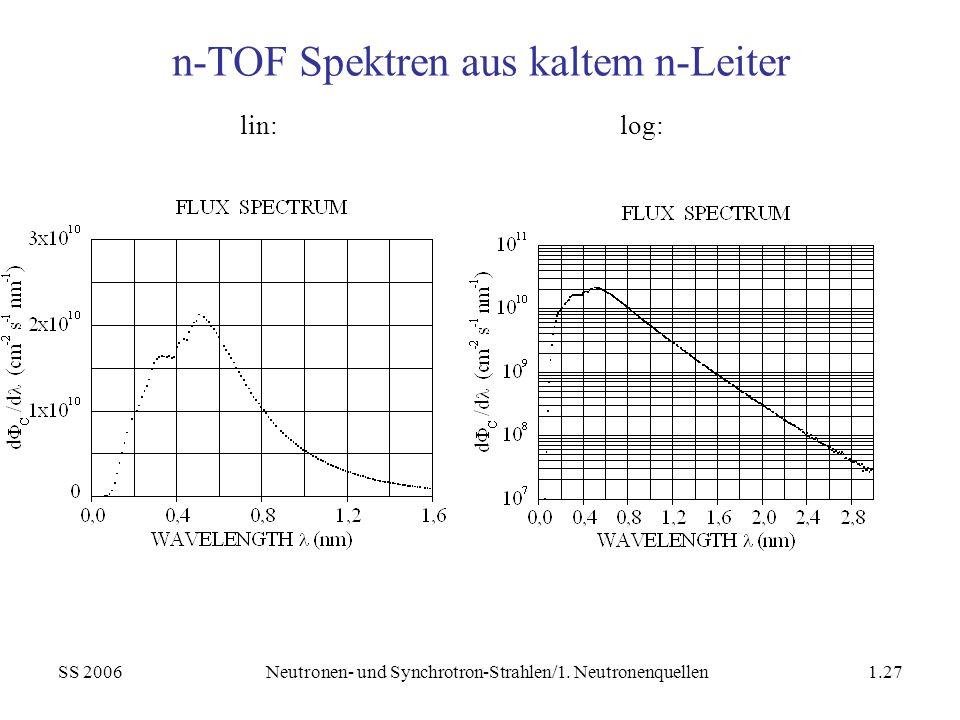 SS 2006Neutronen- und Synchrotron-Strahlen/1. Neutronenquellen1.27 n-TOF Spektren aus kaltem n-Leiter lin:log: