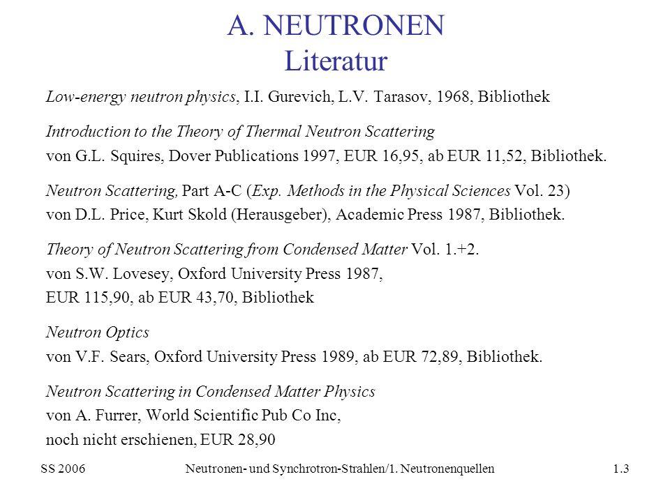 SS 2006Neutronen- und Synchrotron-Strahlen/1. Neutronenquellen1.3 A. NEUTRONEN Literatur Low-energy neutron physics, I.I. Gurevich, L.V. Tarasov, 1968