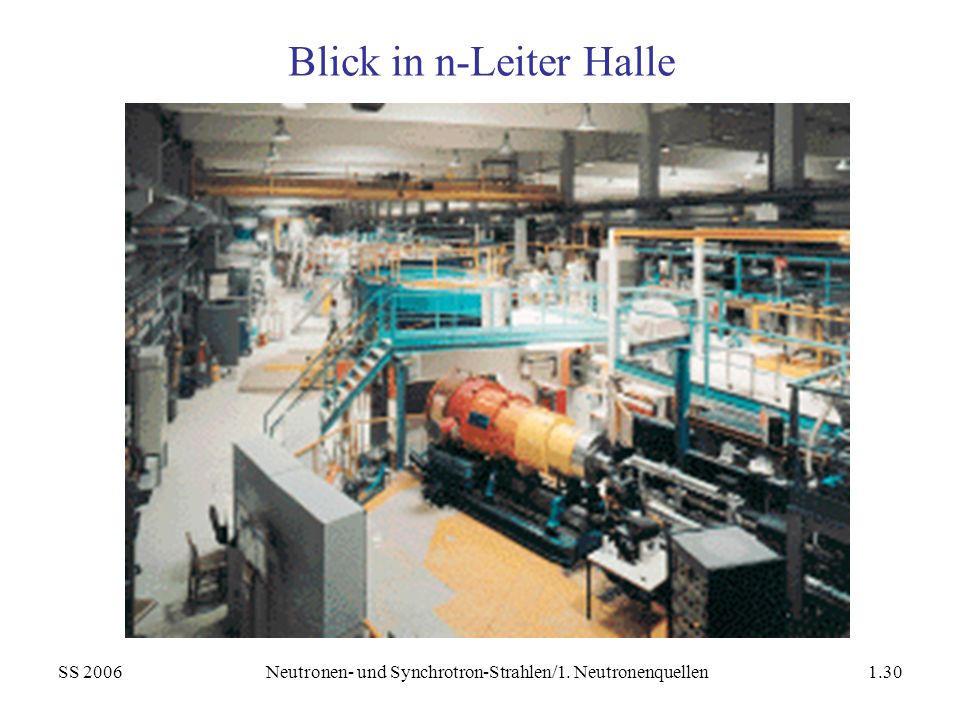 SS 2006Neutronen- und Synchrotron-Strahlen/1. Neutronenquellen1.30 Blick in n-Leiter Halle
