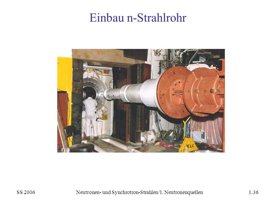 SS 2006Neutronen- und Synchrotron-Strahlen/1. Neutronenquellen1.36 Einbau n-Strahlrohr