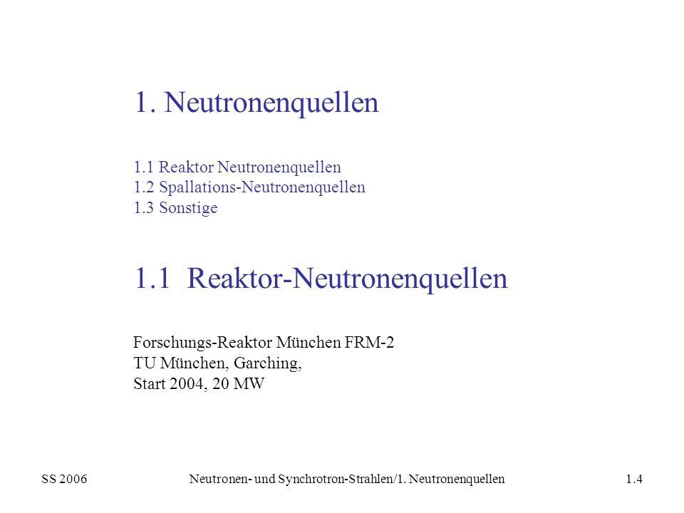 SS 2006Neutronen- und Synchrotron-Strahlen/1. Neutronenquellen1.4 1. Neutronenquellen 1.1 Reaktor Neutronenquellen 1.2 Spallations-Neutronenquellen 1.