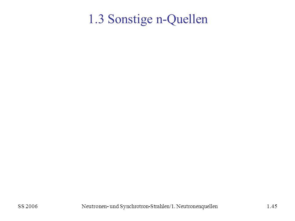 SS 2006Neutronen- und Synchrotron-Strahlen/1. Neutronenquellen1.45 1.3 Sonstige n-Quellen