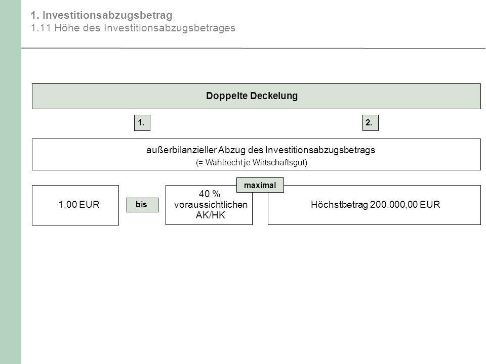 1. Investitionsabzugsbetrag 1.11 Höhe des Investitionsabzugsbetrages Höchstbetrag 200.000,00 EUR Doppelte Deckelung 1. außerbilanzieller Abzug des Inv