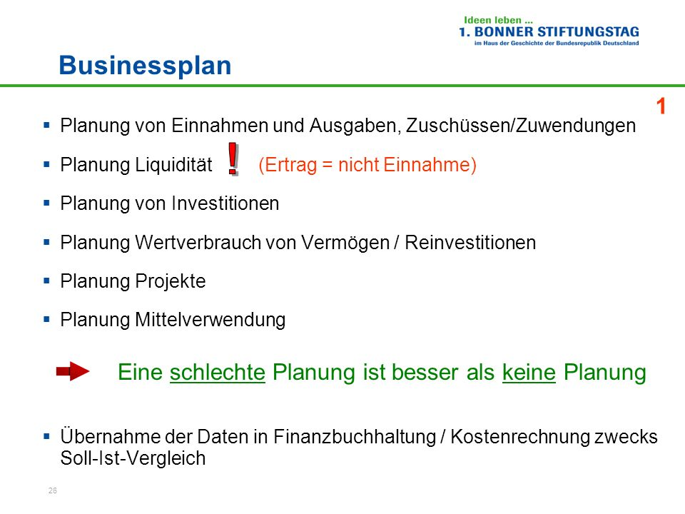 26 Businessplan Planung von Einnahmen und Ausgaben, Zuschüssen/Zuwendungen Planung Liquidität (Ertrag = nicht Einnahme) Planung von Investitionen Plan