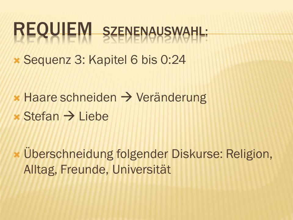 Sequenz 3: Kapitel 6 bis 0:24 Haare schneiden Veränderung Stefan Liebe Überschneidung folgender Diskurse: Religion, Alltag, Freunde, Universität