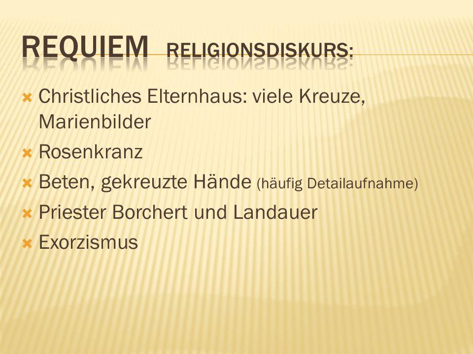 Christliches Elternhaus: viele Kreuze, Marienbilder Rosenkranz Beten, gekreuzte Hände (häufig Detailaufnahme) Priester Borchert und Landauer Exorzismus