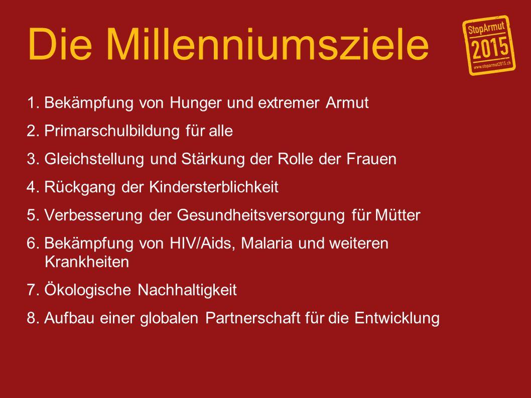 Die Millenniumsziele 1. Bekämpfung von Hunger und extremer Armut 2. Primarschulbildung für alle 3. Gleichstellung und Stärkung der Rolle der Frauen 4.
