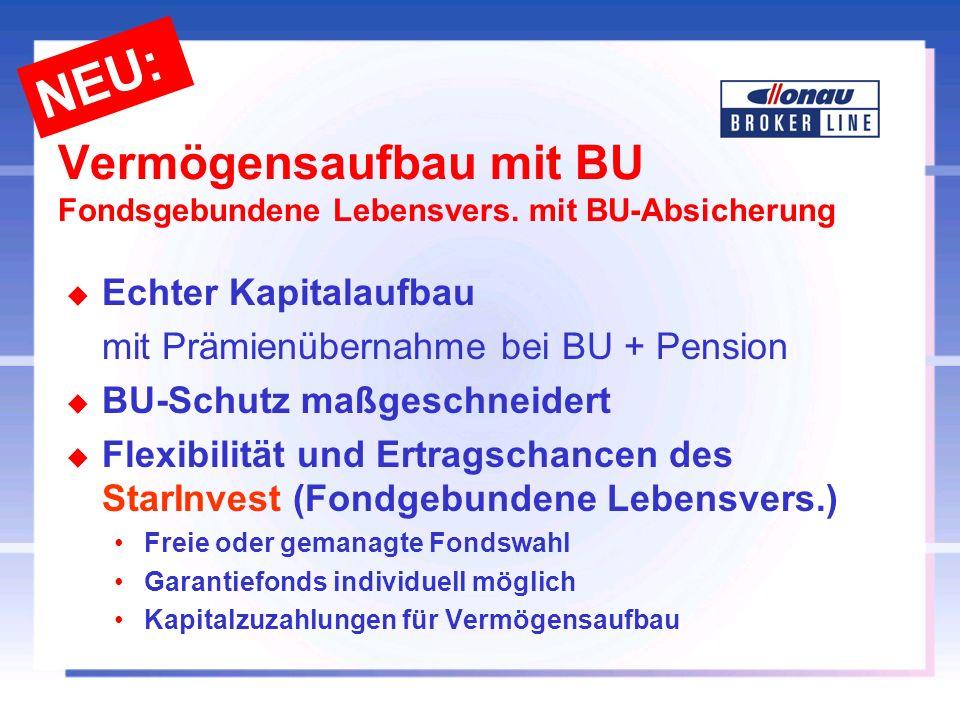 Vermögensaufbau mit BU Fondsgebundene Lebensvers. mit BU-Absicherung u Echter Kapitalaufbau mit Prämienübernahme bei BU + Pension u BU-Schutz maßgesch