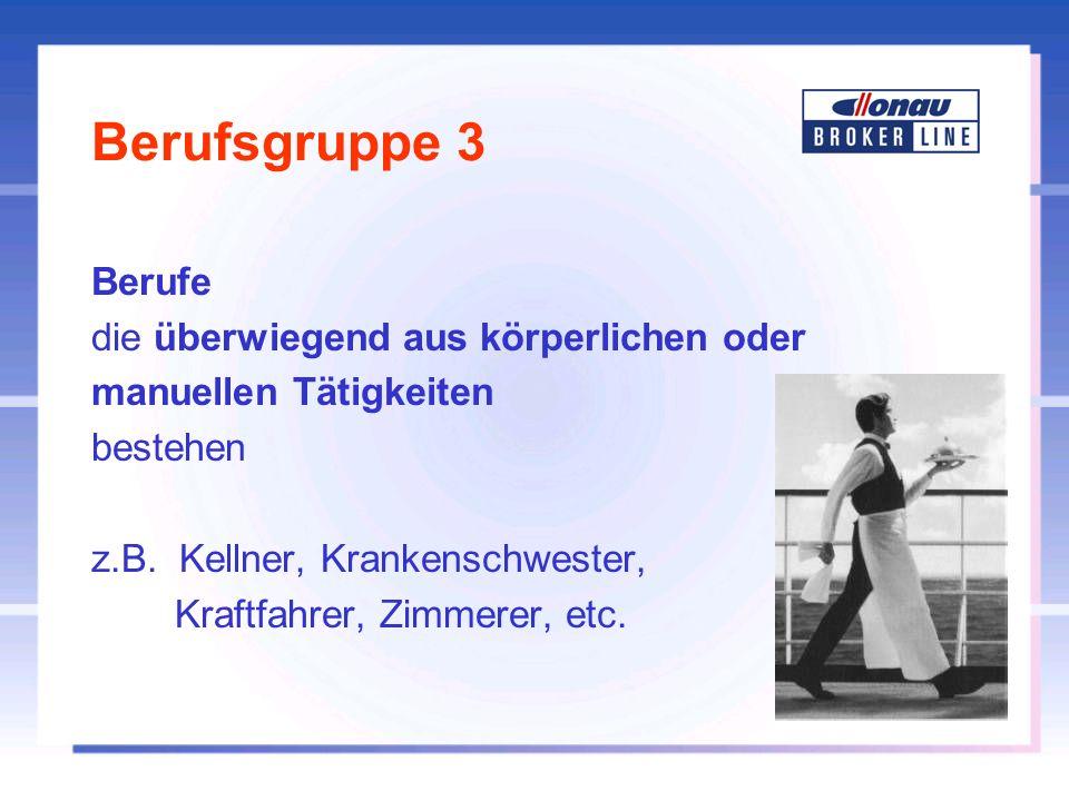 Berufsgruppe 3 Berufe die überwiegend aus körperlichen oder manuellen Tätigkeiten bestehen z.B. Kellner, Krankenschwester, Kraftfahrer, Zimmerer, etc.