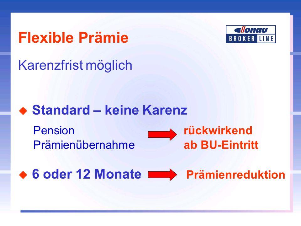 Flexible Prämie Karenzfrist möglich u Standard – keine Karenz Pension rückwirkend Prämienübernahmeab BU-Eintritt u 6 oder 12 Monate Prämienreduktion