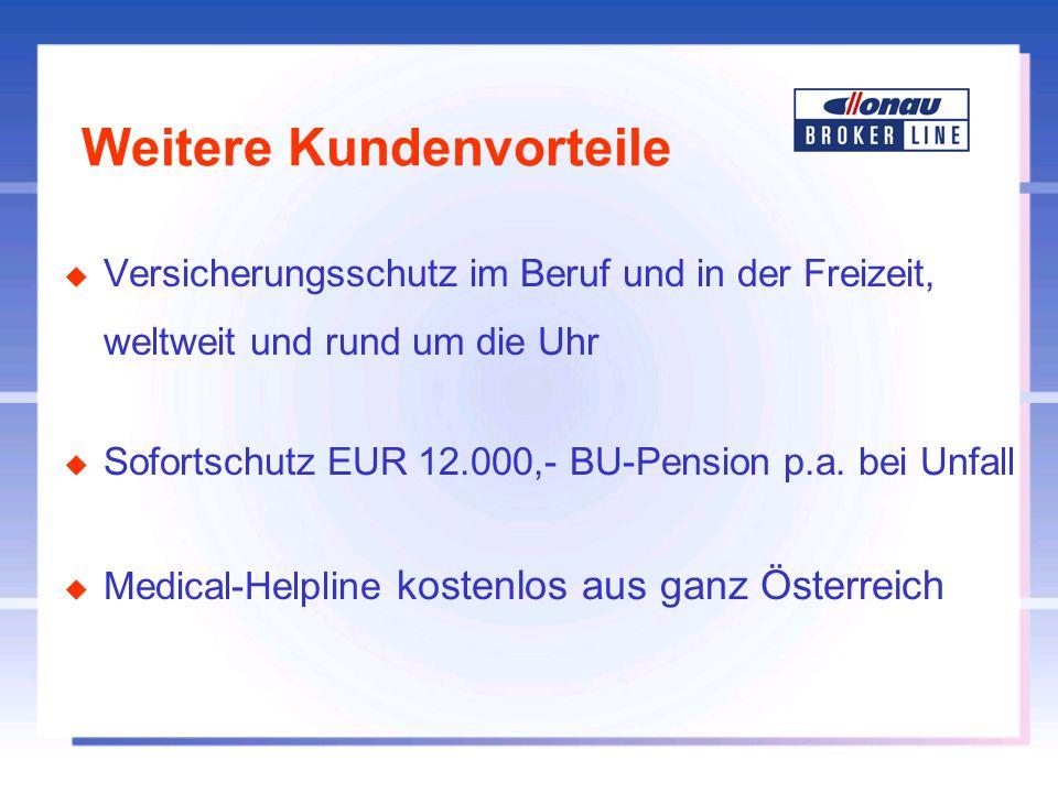Weitere Kundenvorteile u Versicherungsschutz im Beruf und in der Freizeit, weltweit und rund um die Uhr u Sofortschutz EUR 12.000,- BU-Pension p.a. be