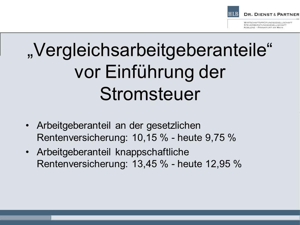 Vergleichsarbeitgeberanteile vor Einführung der Stromsteuer Arbeitgeberanteil an der gesetzlichen Rentenversicherung: 10,15 % - heute 9,75 % Arbeitgeb
