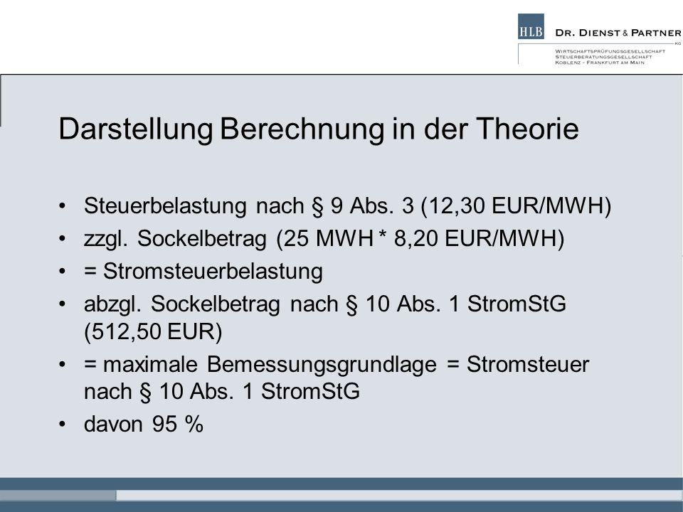 Darstellung Berechnung in der Theorie Steuerbelastung nach § 9 Abs. 3 (12,30 EUR/MWH) zzgl. Sockelbetrag (25 MWH * 8,20 EUR/MWH) = Stromsteuerbelastun