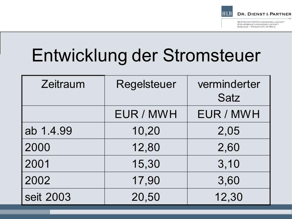 Entwicklung der Stromsteuer ZeitraumRegelsteuerverminderter Satz EUR / MWH ab 1.4.9910,202,05 200012,802,60 200115,303,10 200217,903,60 seit 200320,50