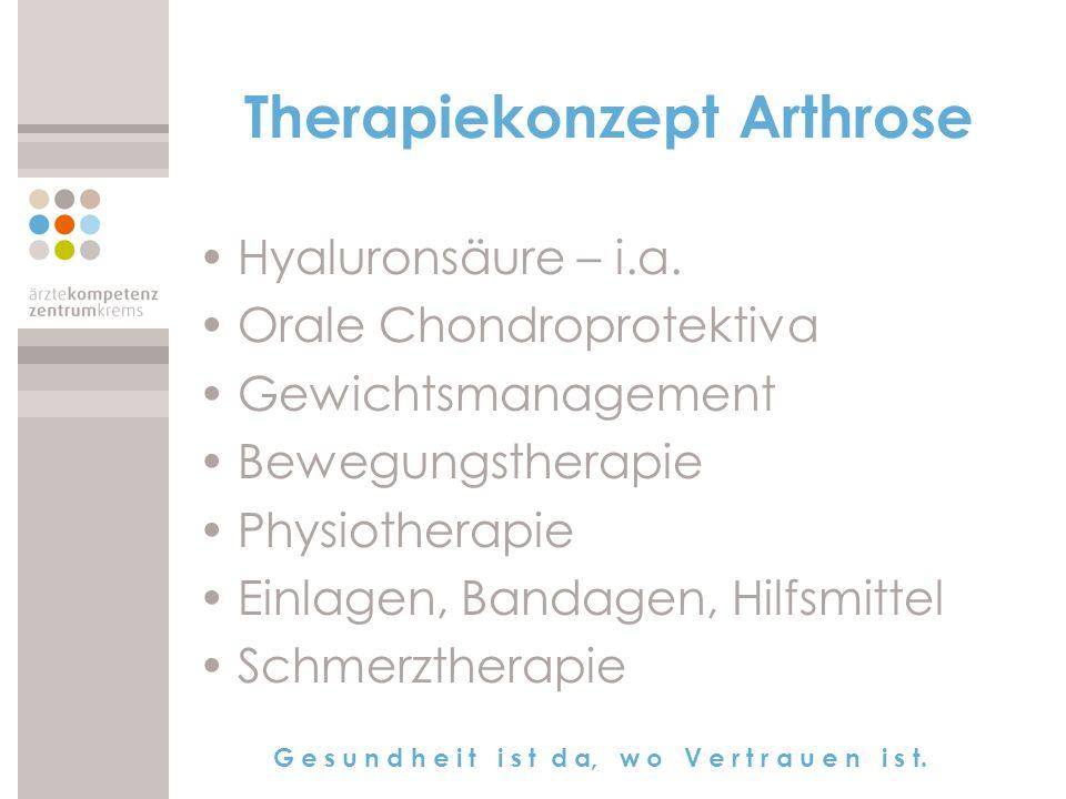 G e s u n d h e i t i s t d a, w o V e r t r a u e n i s t. Therapiekonzept Arthrose Hyaluronsäure – i.a. Orale Chondroprotektiva Gewichtsmanagement B