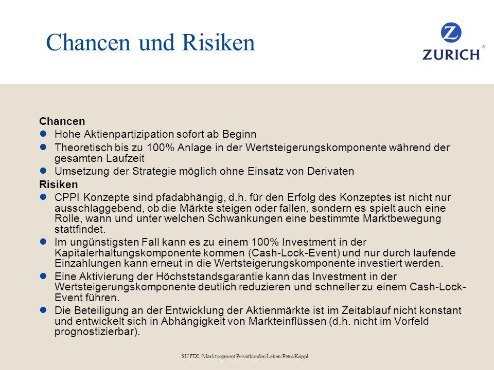 SU FDL/Marktsegment Privatkunden Leben/Petra Kappl Chancen und Risiken Chancen Hohe Aktienpartizipation sofort ab Beginn Theoretisch bis zu 100% Anlag