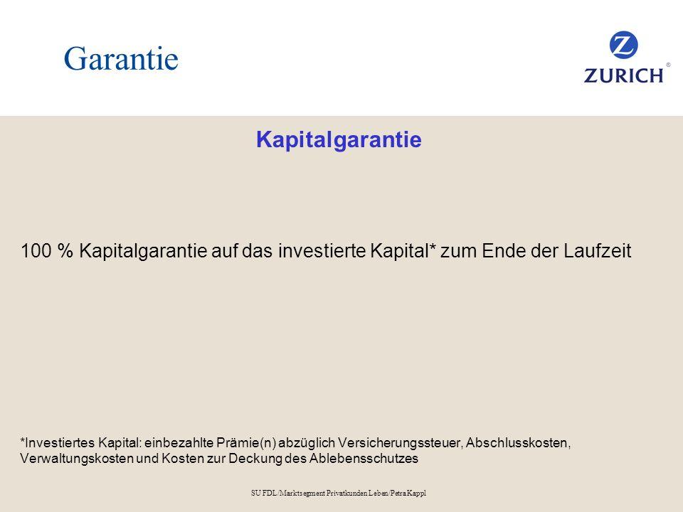SU FDL/Marktsegment Privatkunden Leben/Petra Kappl Garantie Kapitalgarantie 100 % Kapitalgarantie auf das investierte Kapital* zum Ende der Laufzeit *