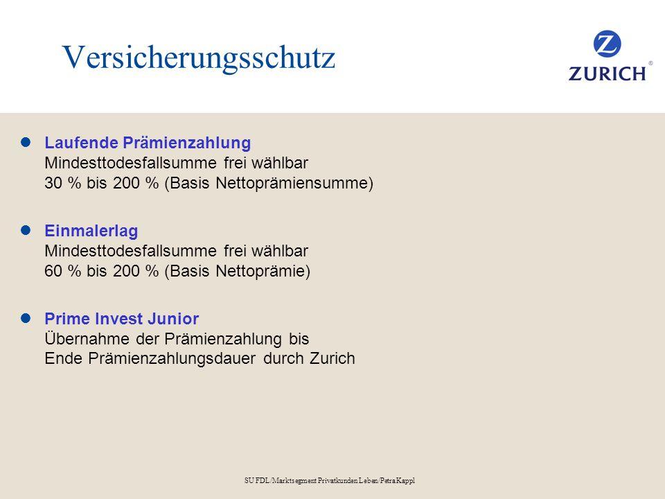 SU FDL/Marktsegment Privatkunden Leben/Petra Kappl Versicherungsschutz Laufende Prämienzahlung Mindesttodesfallsumme frei wählbar 30 % bis 200 % (Basi