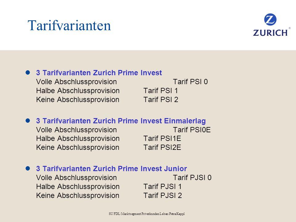 SU FDL/Marktsegment Privatkunden Leben/Petra Kappl Tarifvarianten 3 Tarifvarianten Zurich Prime Invest Volle AbschlussprovisionTarif PSI 0 Halbe Absch