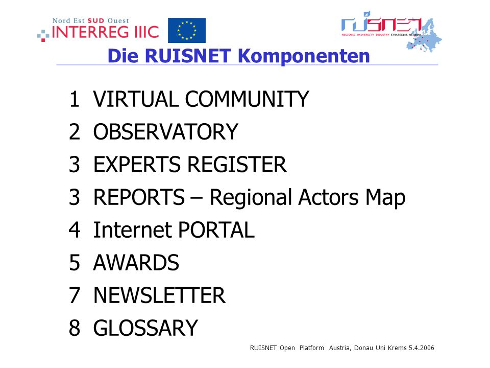 RUISNET Open Platform Austria, Donau Uni Krems 5.4.2006 Die RUISNET Komponenten 1VIRTUAL COMMUNITY 2OBSERVATORY 3EXPERTS REGISTER 3REPORTS – Regional Actors Map 4Internet PORTAL 5AWARDS 7NEWSLETTER 8GLOSSARY