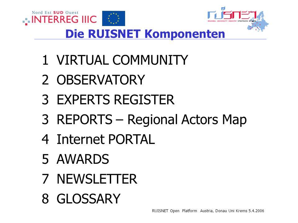 RUISNET Open Platform Austria, Donau Uni Krems 5.4.2006 Die RUISNET Komponenten 1VIRTUAL COMMUNITY 2OBSERVATORY 3EXPERTS REGISTER 3REPORTS – Regional