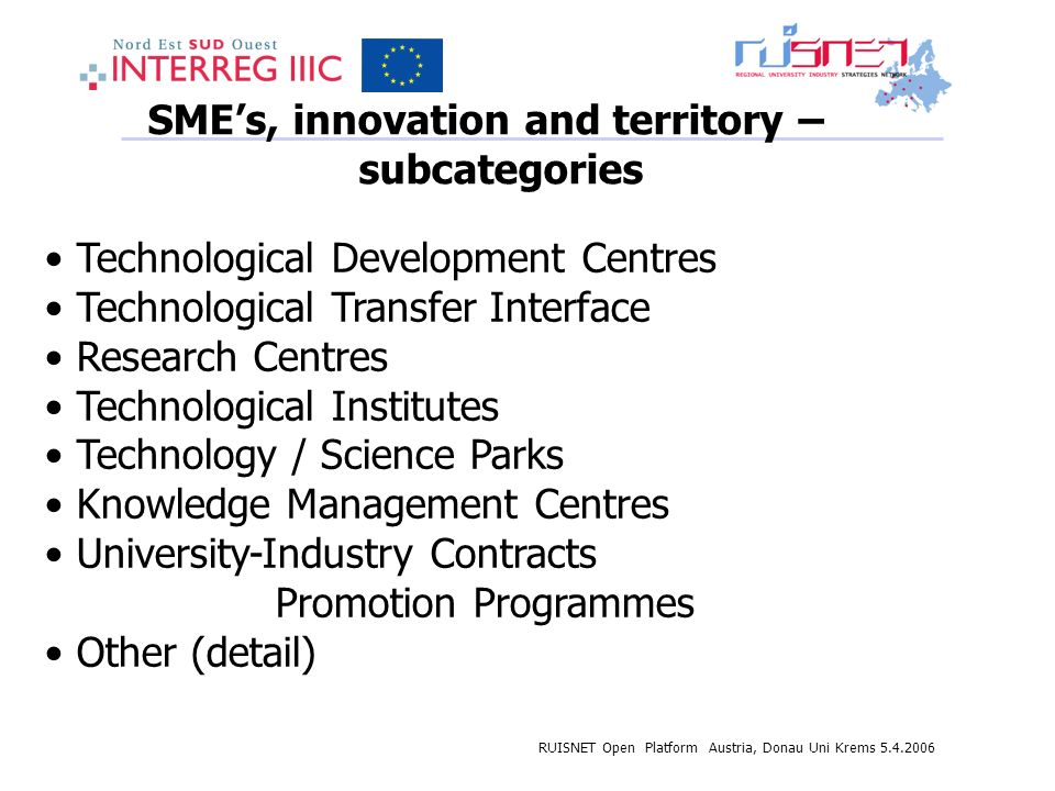 RUISNET Open Platform Austria, Donau Uni Krems SMEs, innovation and territory – subcategories Technological Development Centres Technological Transfer Interface Research Centres Technological Institutes Technology / Science Parks Knowledge Management Centres University-Industry Contracts Promotion Programmes Other (detail)