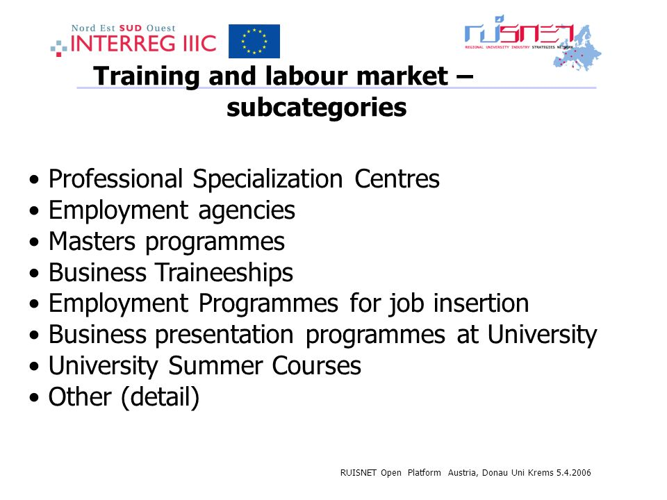 RUISNET Open Platform Austria, Donau Uni Krems 5.4.2006 Training and labour market – subcategories Professional Specialization Centres Employment agencies Masters programmes Business Traineeships Employment Programmes for job insertion Business presentation programmes at University University Summer Courses Other (detail)