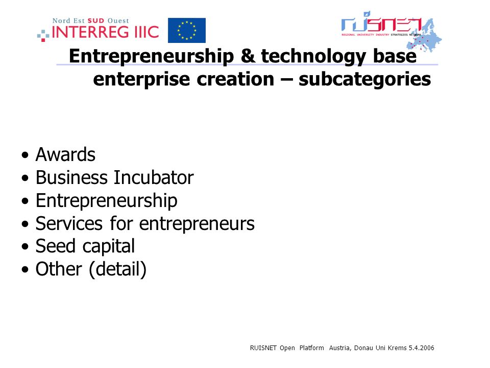 RUISNET Open Platform Austria, Donau Uni Krems 5.4.2006 Entrepreneurship & technology base enterprise creation – subcategories Awards Business Incubator Entrepreneurship Services for entrepreneurs Seed capital Other (detail)