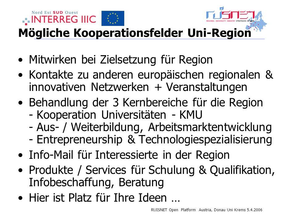 RUISNET Open Platform Austria, Donau Uni Krems 5.4.2006 Mögliche Kooperationsfelder Uni-Region Mitwirken bei Zielsetzung für Region Kontakte zu anderen europäischen regionalen & innovativen Netzwerken + Veranstaltungen Behandlung der 3 Kernbereiche für die Region - Kooperation Universitäten - KMU - Aus- / Weiterbildung, Arbeitsmarktentwicklung - Entrepreneurship & Technologiespezialisierung Info-Mail für Interessierte in der Region Produkte / Services für Schulung & Qualifikation, Infobeschaffung, Beratung Hier ist Platz für Ihre Ideen …