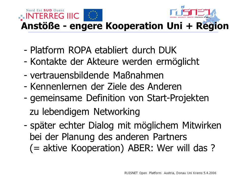 RUISNET Open Platform Austria, Donau Uni Krems 5.4.2006 Anstöße - engere Kooperation Uni + Region - Platform ROPA etabliert durch DUK - Kontakte der Akteure werden ermöglicht - vertrauensbildende Maßnahmen - Kennenlernen der Ziele des Anderen - gemeinsame Definition von Start-Projekten zu lebendigem Networking - später echter Dialog mit möglichem Mitwirken bei der Planung des anderen Partners (= aktive Kooperation) ABER: Wer will das ?