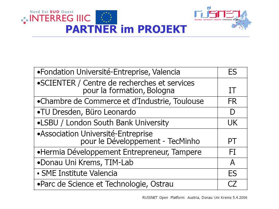 APPLICATION FILE: BUDGET Fondation Université-Entreprise, Valencia ES SCIENTER / Centre de recherches et services pour la formation, Bologna IT Chambr
