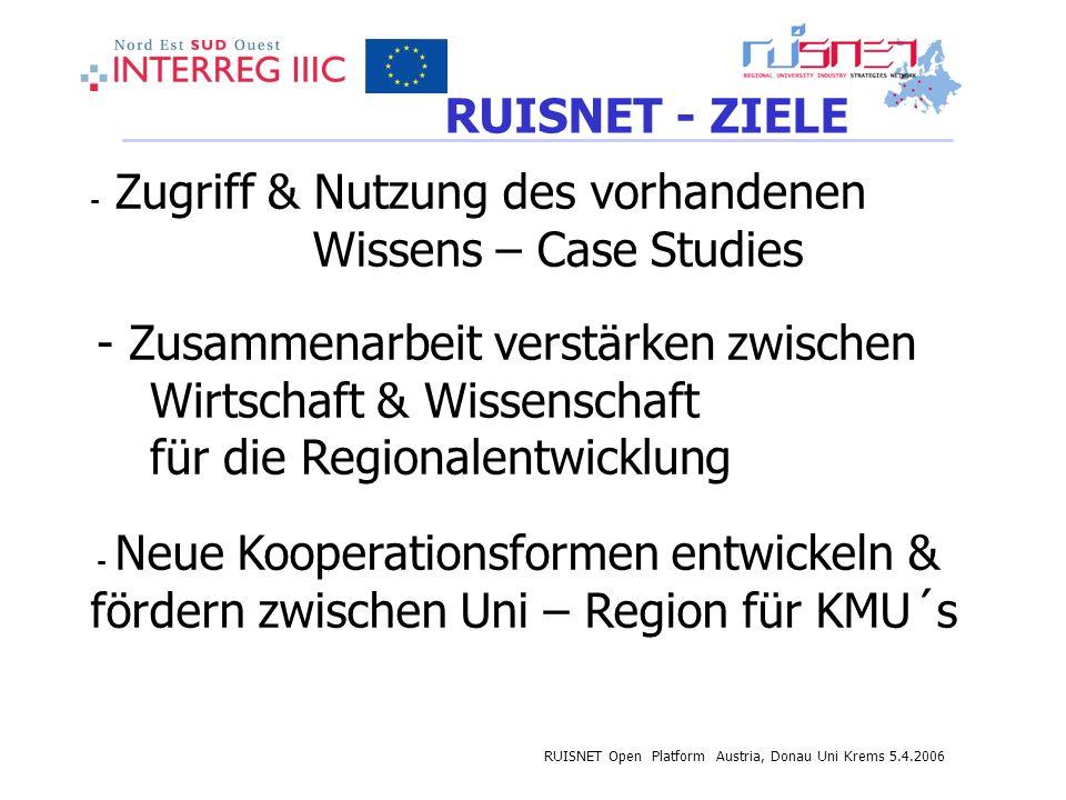 RUISNET Open Platform Austria, Donau Uni Krems 5.4.2006 RUISNET - ZIELE - Zugriff & Nutzung des vorhandenen Wissens – Case Studies - Zusammenarbeit verstärken zwischen Wirtschaft & Wissenschaft für die Regionalentwicklung - Neue Kooperationsformen entwickeln & fördern zwischen Uni – Region für KMU´s