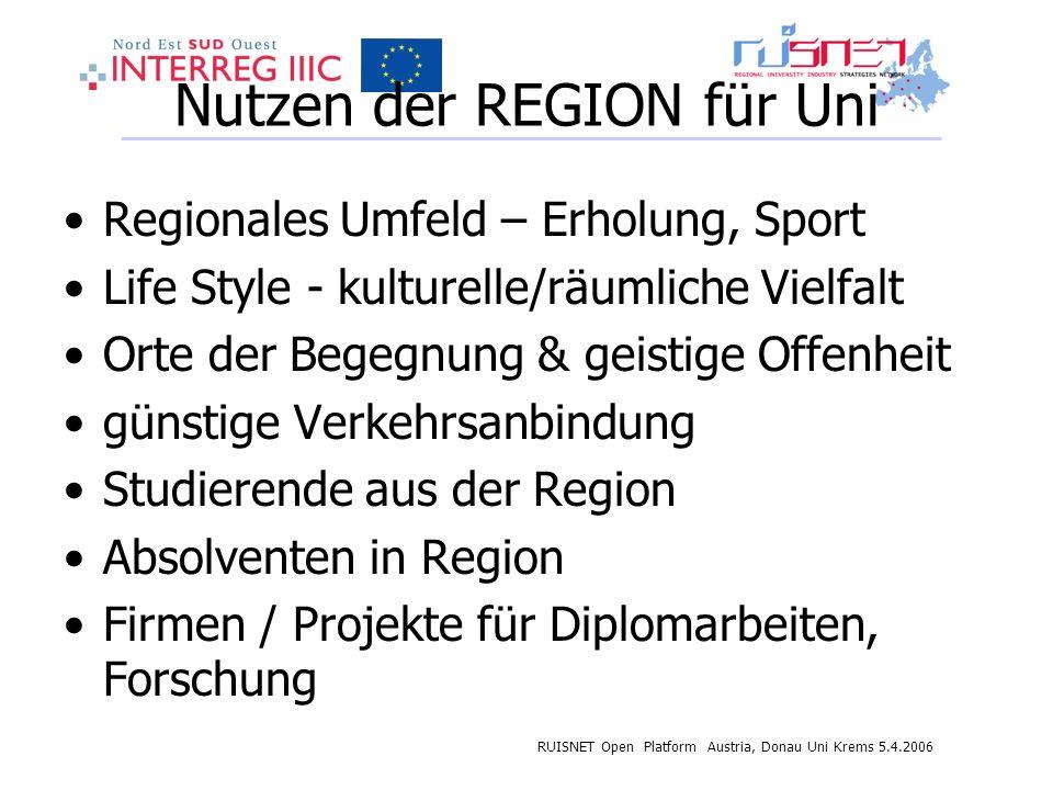 RUISNET Open Platform Austria, Donau Uni Krems 5.4.2006 Nutzen der REGION für Uni Regionales Umfeld – Erholung, Sport Life Style - kulturelle/räumlich