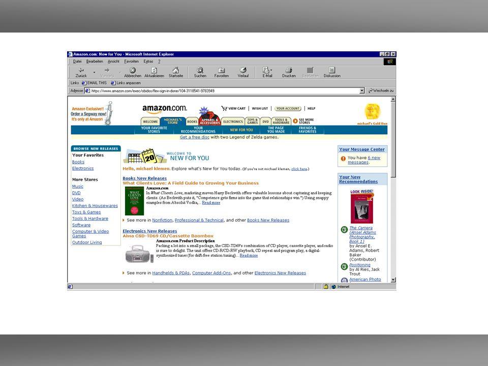 Amazon – Weihnachten 2002 1.11-23.12 2002 56 Millionen Artikel geordert Stärkster Tag 9.12.
