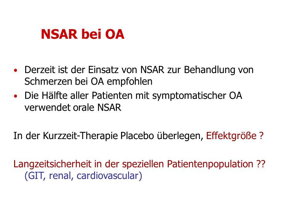 NSAR bei OA Derzeit ist der Einsatz von NSAR zur Behandlung von Schmerzen bei OA empfohlen Die Hälfte aller Patienten mit symptomatischer OA verwendet orale NSAR In der Kurzzeit-Therapie Placebo überlegen, Effektgröße .