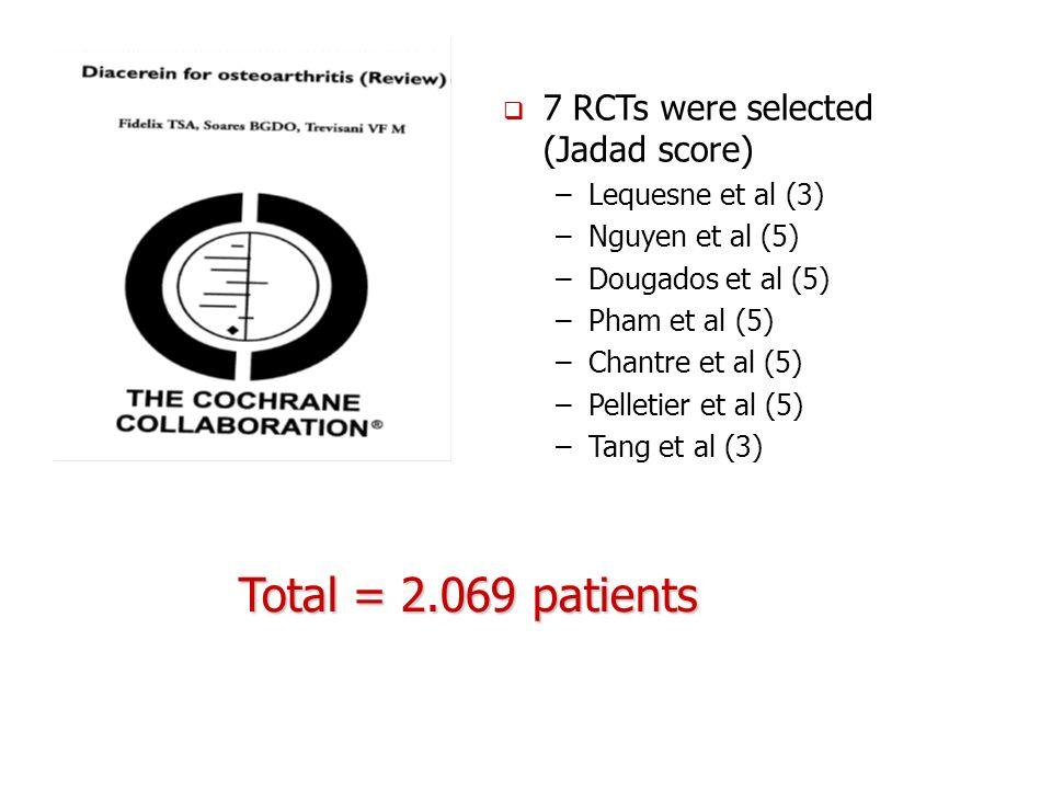 7 RCTs were selected (Jadad score) –Lequesne et al (3) –Nguyen et al (5) –Dougados et al (5) –Pham et al (5) –Chantre et al (5) –Pelletier et al (5) –Tang et al (3) Total = 2.069 patients