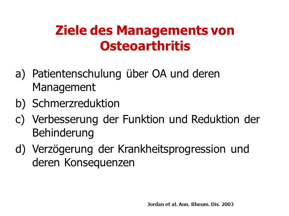 Ziele des Managements von Osteoarthritis a)Patientenschulung über OA und deren Management b)Schmerzreduktion c)Verbesserung der Funktion und Reduktion der Behinderung d)Verzögerung der Krankheitsprogression und deren Konsequenzen Jordan et al.