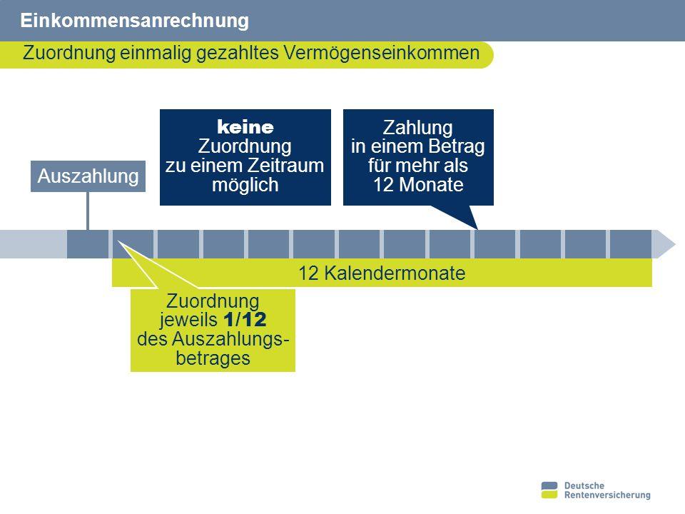 13 10622391 Einkommensanrechnung Zuordnung einmalig gezahltes Vermögenseinkommen keine Zuordnung zu einem Zeitraum möglich 12 Kalendermonate Auszahlun