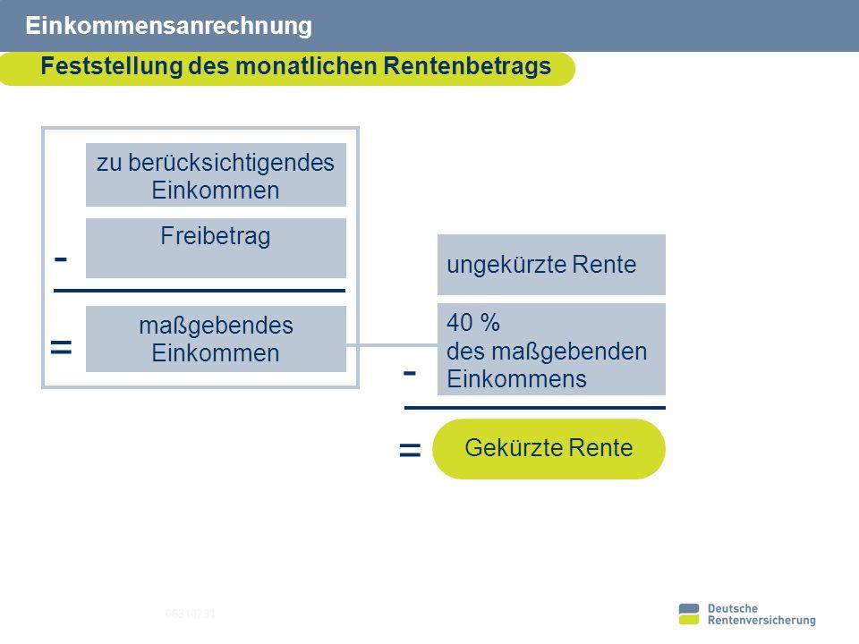 19 Einkommensanrechnung Feststellung des monatlichen Rentenbetrags 06310291 zu berücksichtigendes Einkommen Freibetrag maßgebendes Einkommen = 40 % de